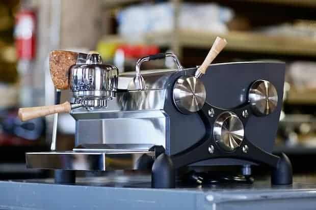 Shiny new Slayer espresso machine at the factory