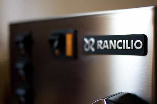 Branding at the top of a Rancilio espresso machine