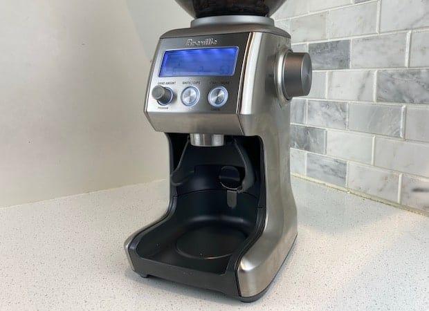 Breville Smart Grinder Pro with the portafilter cradle installed