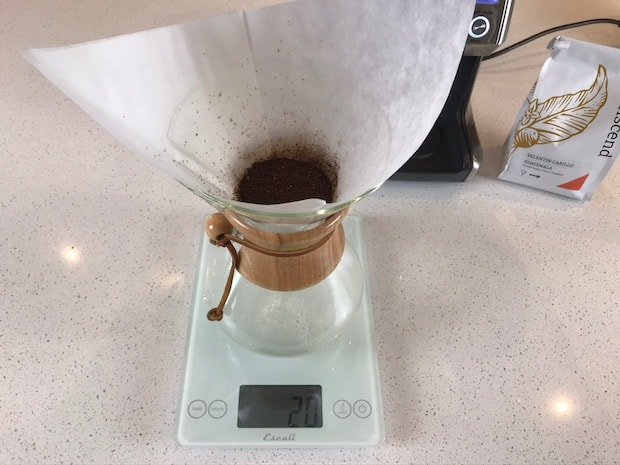 Bed of coffee in Chemex filter