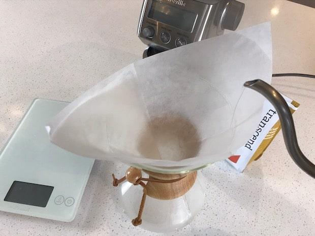 Soaking a Chemex filter