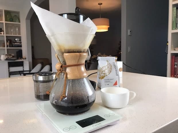 Carafe of Chemex coffee on a scale