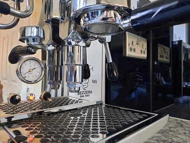 E61 group head on a Bezzera Unica espresso machine