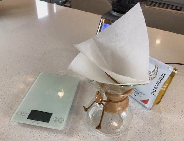 Chemex filter in the brewing funnel