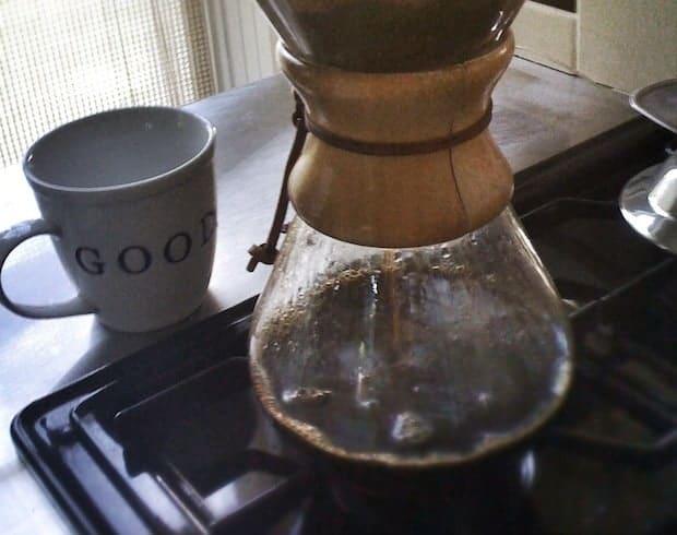 Chemex coffee maker on gas stove