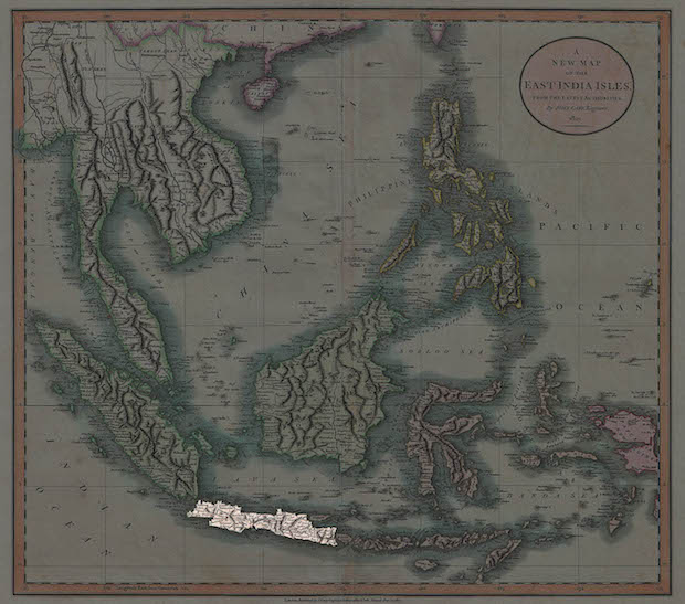 The island of Java highlighted on an 1801 map of what was then known as the East India Isles.