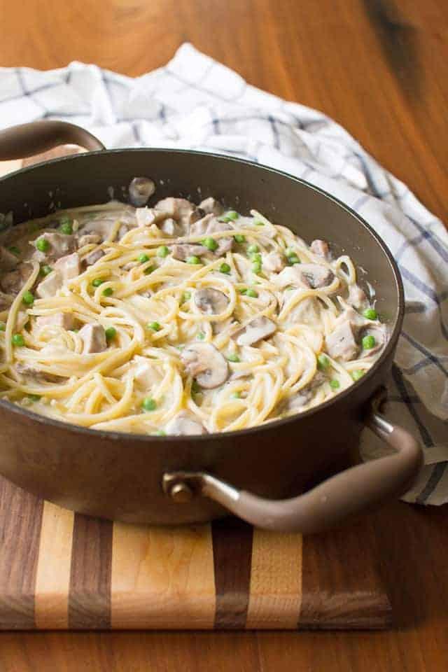 Saucepan with Turkey Tetrazzini Filling