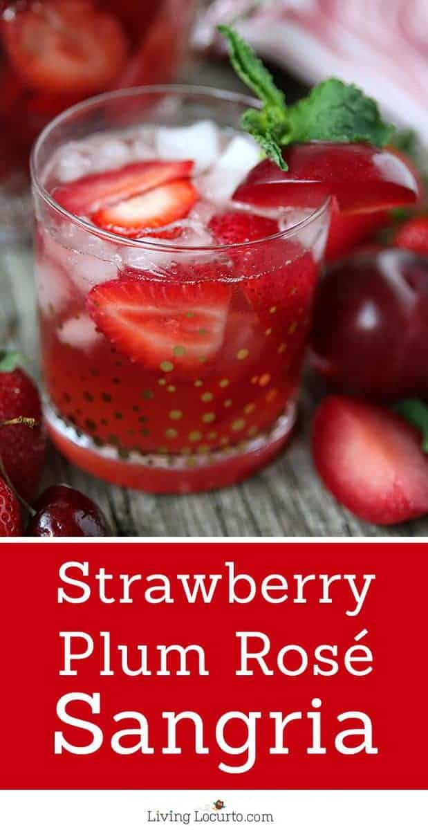 Strawberry Plum Rose Sangria. An easy pink wine and fruit filled refreshing party cocktail recipe! A perfect summer party drink.