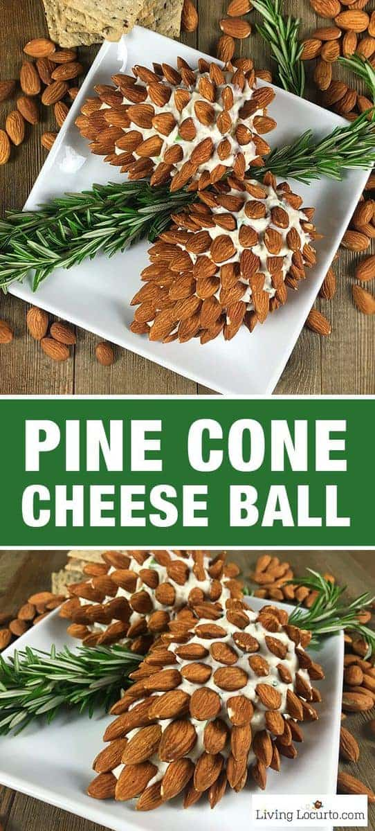Pine Cone Cheese Ball Appetizer with Almonds. Fun and Easy Christmas Party Appetizer for the holiday season. Delicious fresh dill cheese ball recipe