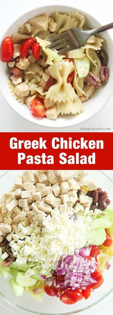 Easy Greek chicken pasta salad. Served cold, this recipe is the perfect pasta salad recipe for a summer picnic or pot luck party.