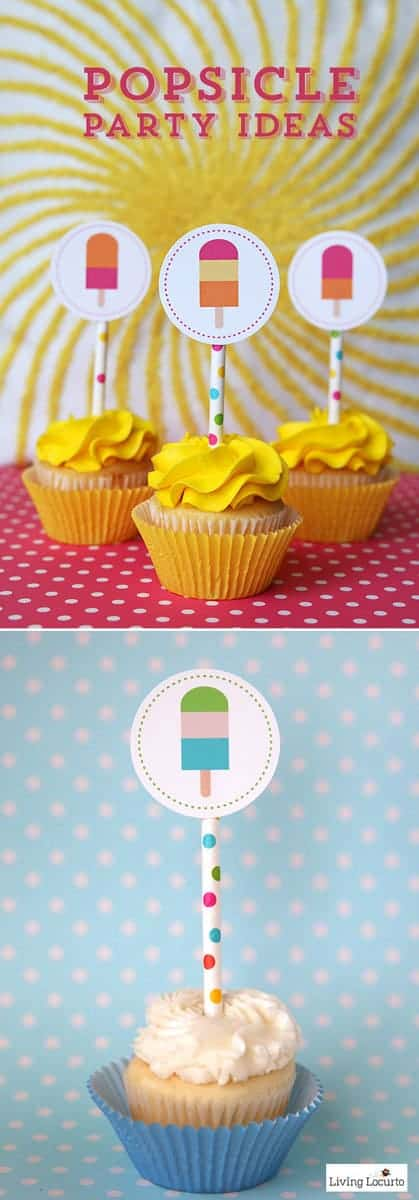 Fun Popsicle Party Ideas with cute printable cupcake tags and party invitations that look like popsicles. Easy summer party ideas.