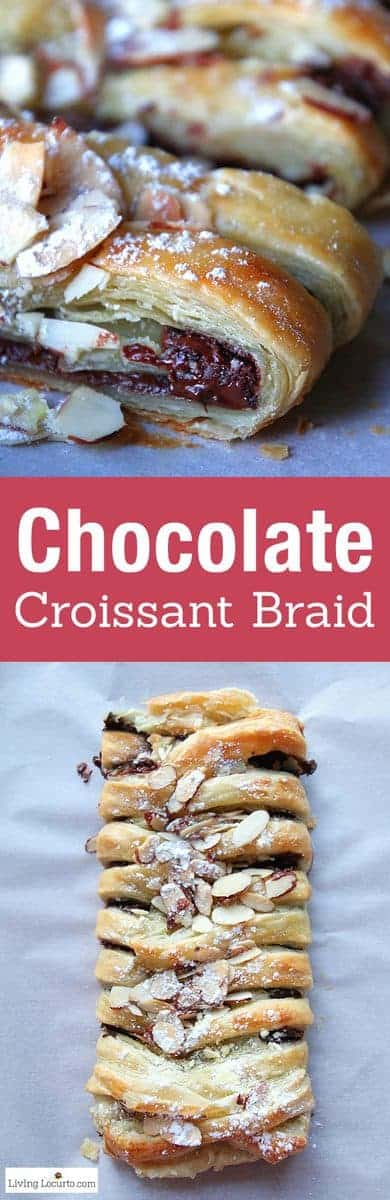 Chocolate Braid Recipe. Easy to make warm gooey chocolate baked inside of a tasty crescent puff pastry. Easy almond topped chocolate braid recipe for brunch, breakfast, or school party.