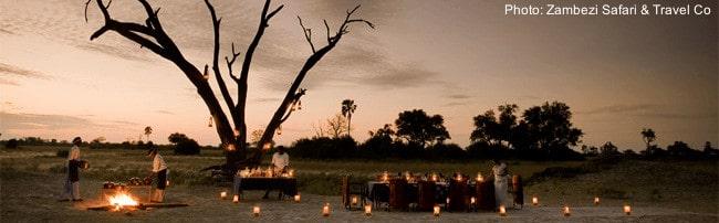 Safari camp at dusk