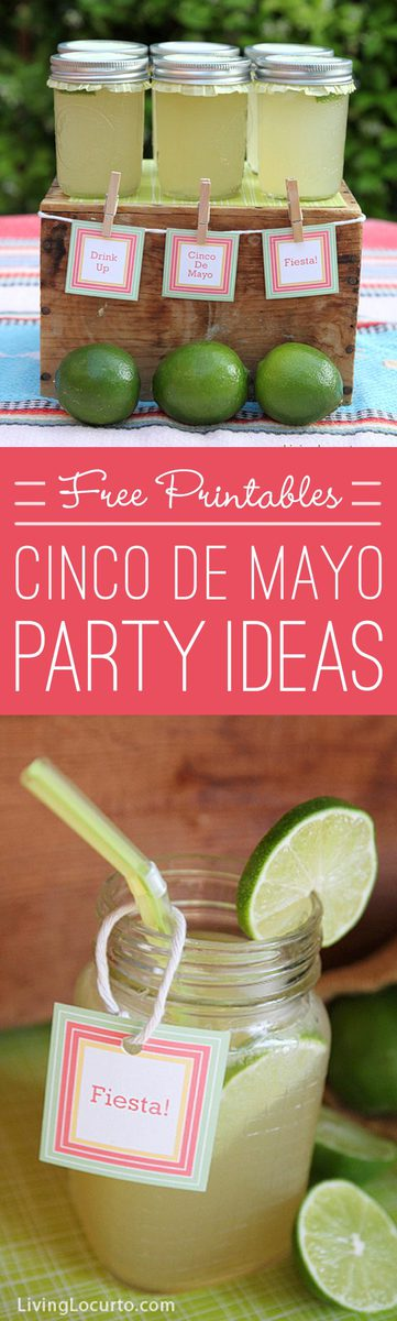 Love these Cinco de Mayo Party Ideas! An easy Margarita Recipe in a Jar and cute Free Party Printables. LivingLocurto.com