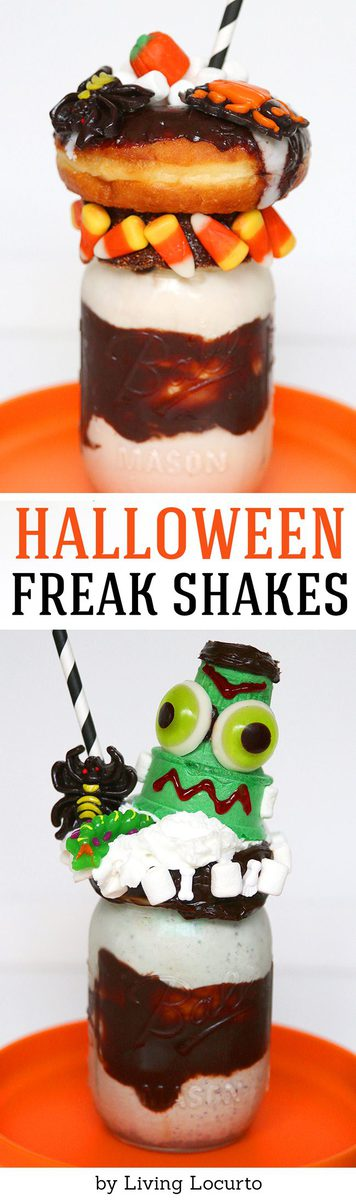 A Halloween milkshake is the perfect recipe for a creepy and fun food after school snack or Halloween party treat! Frankenstein Halloween ice cream dessert.