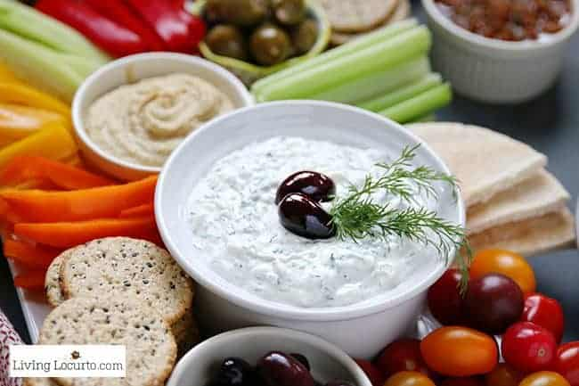 Low Carb Greek Tzatziki sauce recipe and fresh vegetable tray platter. Greek yogurt and cucumber sauce veggie tray.