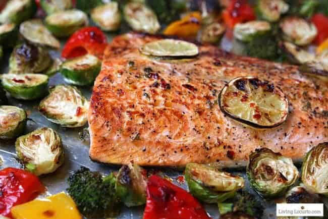 Easy 10 minute Sheet Pan Salmon Recipe. Sheet Pan Sambal Chili Lime Salmon and Brussels Sprouts