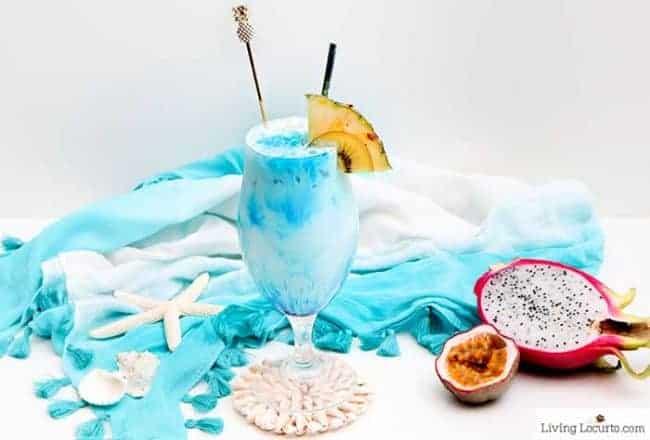 Mermaid Rum Punch Recipe - An ocean blue tropical frozen drink. Easy cocktail.