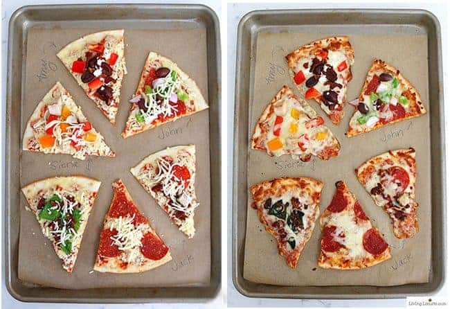 Easy Pizza Party Ideas! How to make a pizza bar with frozen pizza. Buffet idea for a family dinner, birthday party or graduation.