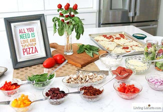 Easy Pizza Party Ideas. Learn how to make a quick pizza bar and download free printables for your party decorations! A fun dinner buffet idea for a small crowd.