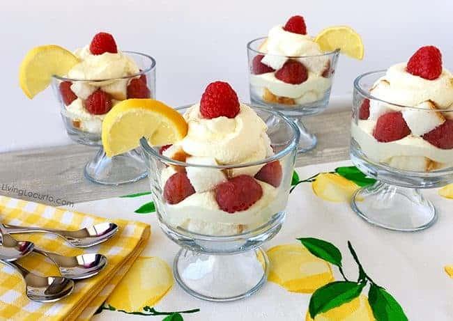 Easy Whipped Lemon Trifle Recipe. Lemon Raspberry Layered Dessert