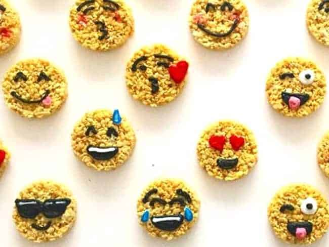 Emoji Rice Krispies Treats - Emoji cake ideas and dessert inspiration for an Emoji Party. From birthday and graduation parties to school events, an emoji party theme is fun for all! LivingLocurto.com