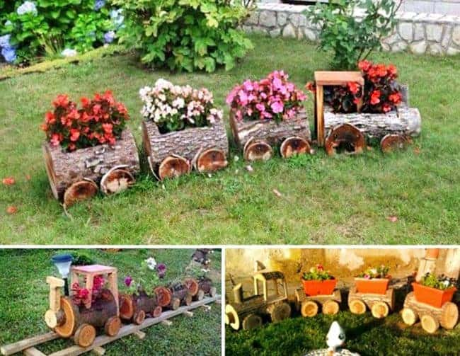 Log Train Flower Pots. Creative ways to add color and joy to a garden, porch, or yard with DIY Yard Art and Garden Ideas! Repurposed ideas for the backyard. Fun ideas for flower gardens made from logs, bikes, toys, tires and other old junk. ~ featured at LivingLocurto.com