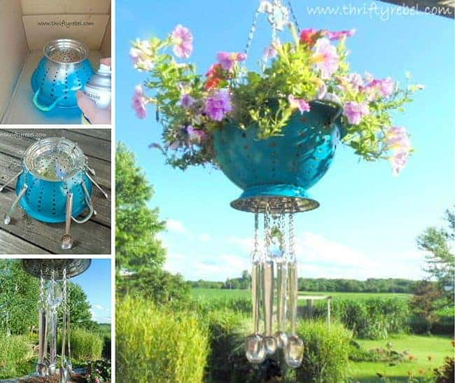 Colander wind chime flower pot. Creative ways to add color and joy to a garden, porch, or yard with DIY Yard Art and Garden Ideas! Repurposed ideas for the backyard. Fun ideas for flower gardens made from logs, bikes, toys, tires and other old junk. ~ featured at LivingLocurto.com