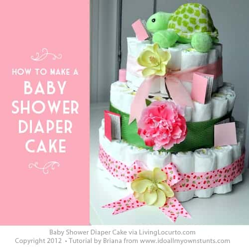 How to make a Diaper Cake. Simple step-by-step craft tutorial. Perfect for a baby shower party or baby gift. LivingLocurto.com