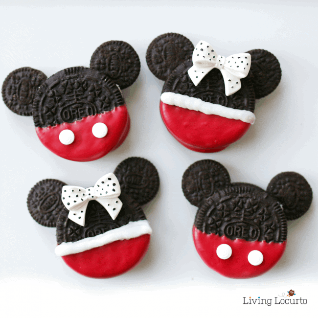 Mickey and Minnie Mouse Oreo Cookies are perfect for a Disney Birthday Party or Everyday Fun Food Idea for Kids! LivingLocurto.com