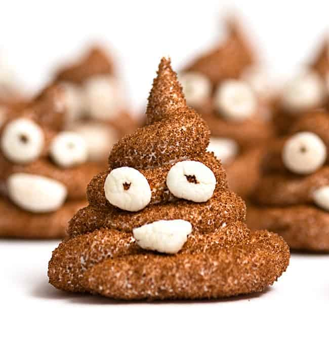 Homemade Poop Emoji Peeps - Emoji cake ideas and dessert inspiration for an Emoji Party. From birthday and graduation parties to school events, an emoji party theme is fun for all! LivingLocurto.com