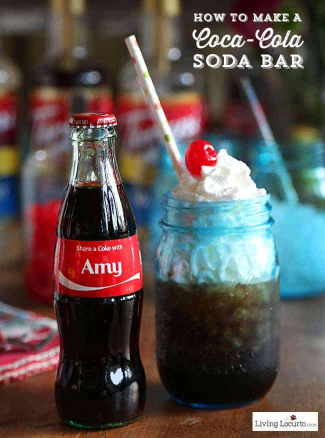 How to make a DIY Coca-Cola Soda Bar. A fun and easy party alternative idea to the Italian Soda Bar. LivingLocurto.com #ShareaCoke #ShareaCokeSweepstakes