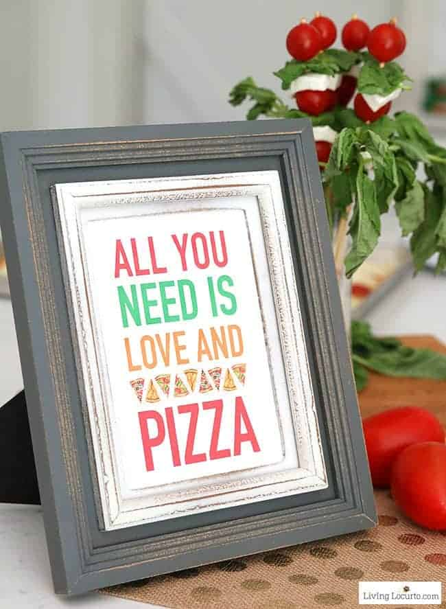 Easy Pizza Party Ideas! Free Printables for a Pizza party. How to make a pizza bar with frozen pizza. Buffet idea for a family dinner, birthday party or graduation.