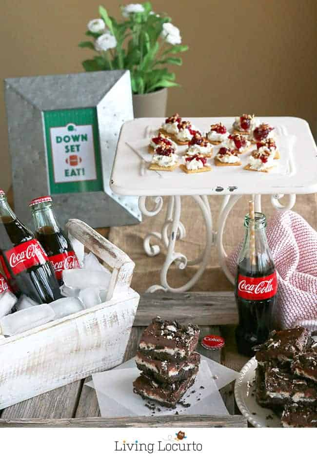 Football Party Recipes! No Bake Chocolate OREO Cheesecake Bars are an irresistible, melt-in-your mouth chocolate dessert recipe! LivingLocurto.com