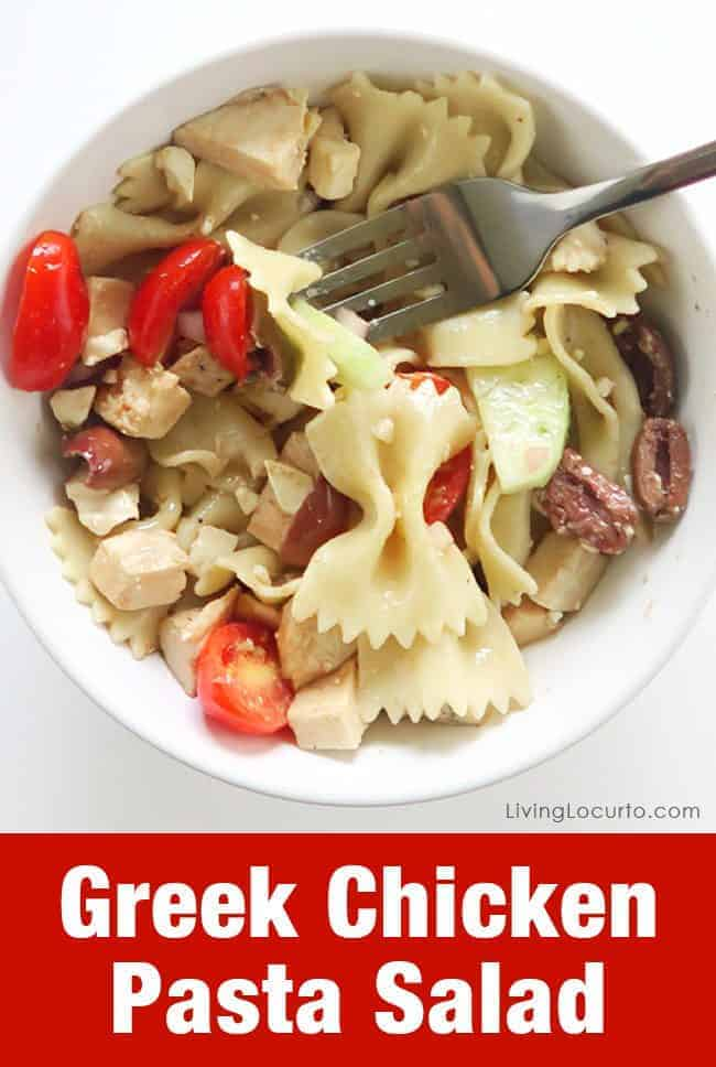Easy Greek chicken Pasta Salad Recipe. Served cold, this recipe is the perfect pasta salad recipe for a party.