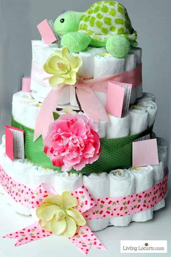 How to Make a Diaper Cake. Easy Baby Shower Craft Homemade Gift Idea.
