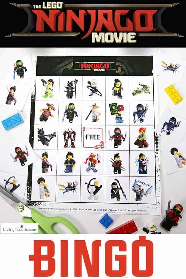 Free printable LEGO NINJAGO Movie Bingo game. Fun kids activity for a birthday party or family game night! LEGO Bingo