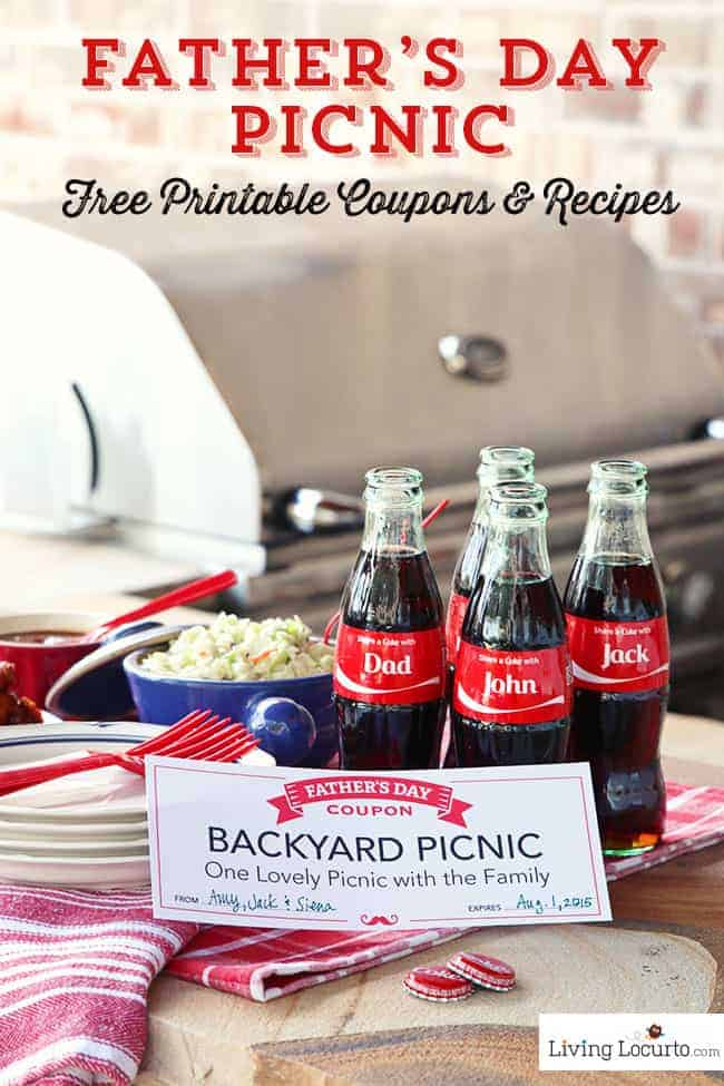 Fathers Day Picnic Ideas. Easy Baked Chicken Wings Recipe and Coca-Cola Ice Cream Floats