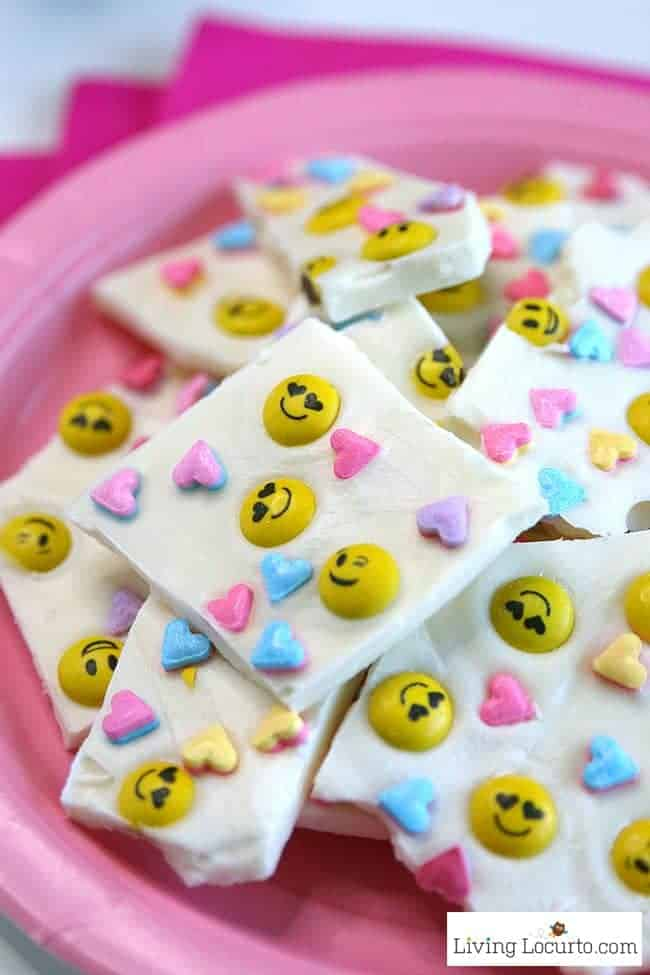 Emoji Chocolate Bark only takes 5 minutes to make Valentine's Day Treats for school parties or a birthday.
