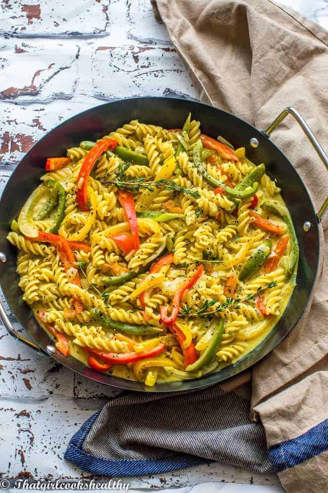 Vegan rasta pasta dish angled shot