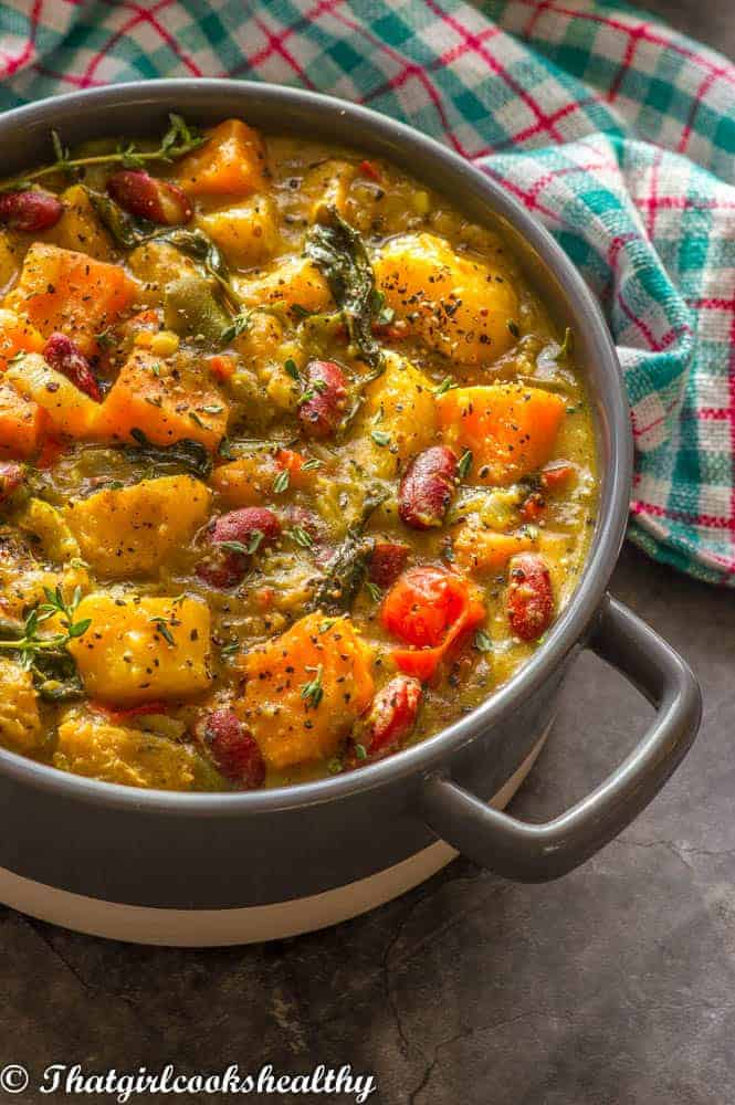 side shoot of curry in a casserole dish with cloth