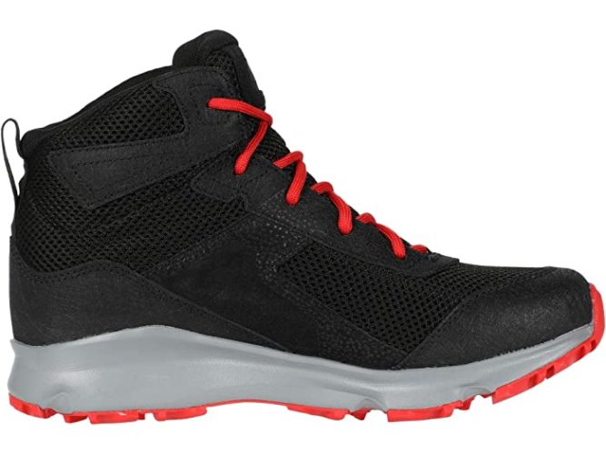 The hedgehog hiking boot from northface performs like a hiking boot but looks like a high-top sneaker. This one has bright orange laces.