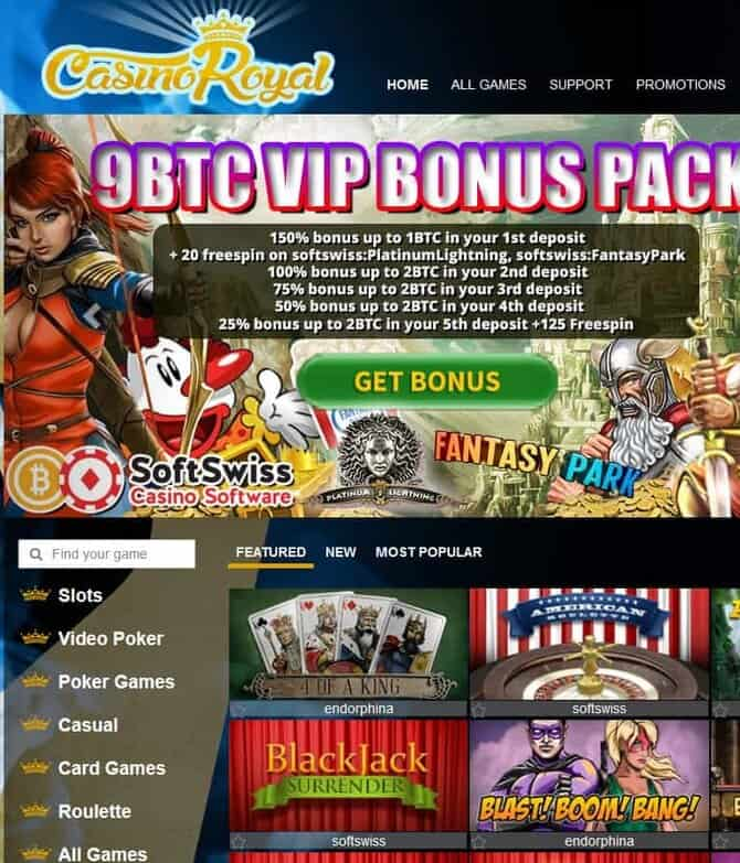CasinoRoyal.one 9 btc free bonus and 145 free spins