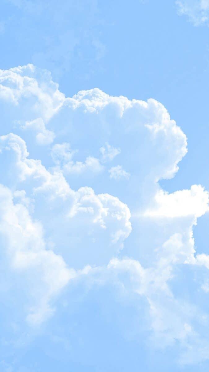 Cloud iphone Wallpaper, iPhone wallpaper. white cloud blue sky