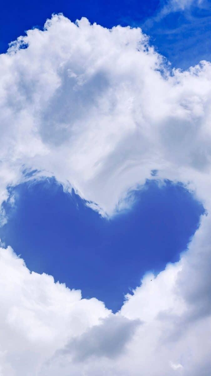Cloud iPhone Wallpaper | Cloud aesthetic wallpaper, wallpaper aesthetic backgrounds, iPhone wallpaper. heart shape cloud sky