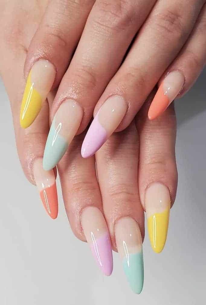 Summer Rainbow Nails, rainbow nails acrylic