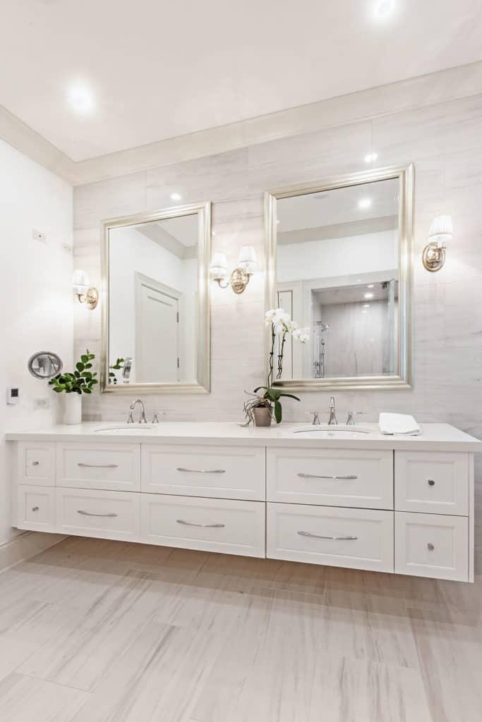 vertical image of double vanity top by bozena voytko interior photography