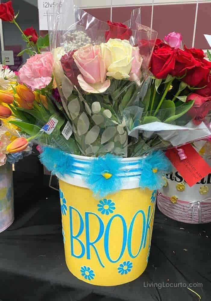 DIY Cheer Drill Team Flower Bucket Ideas
