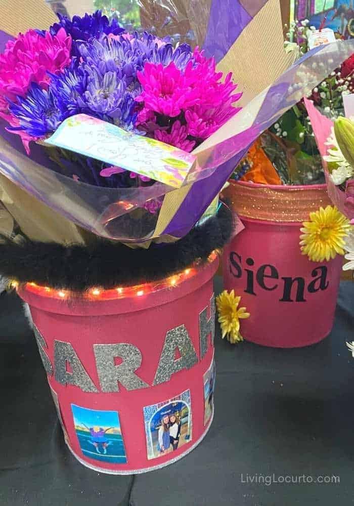 Cheer Drill Team Dance Performance Flower Bucket with Lights