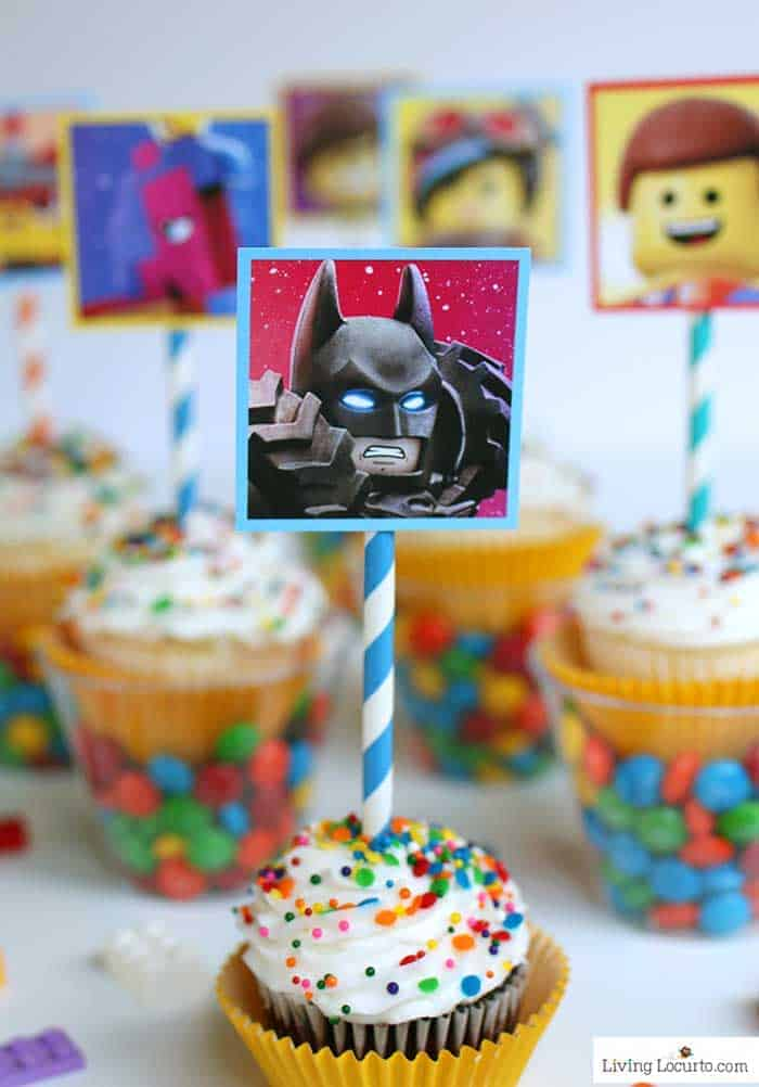 LEGO Cupcakes with free printables from The LEGO Movie. Batman Party ideas and dessert for a LEGO birthday party.